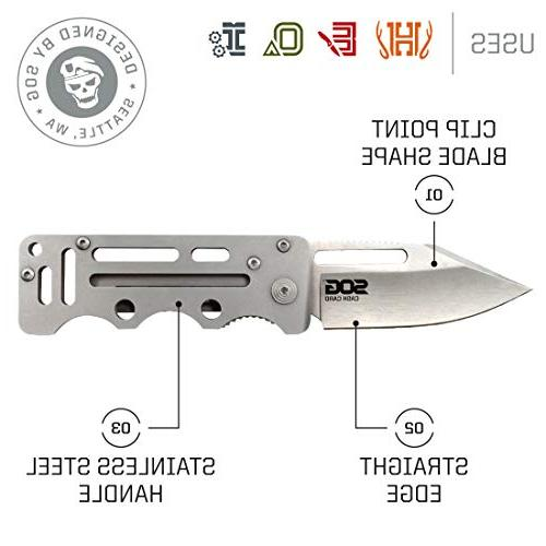 SOG Money Knife - Folding Knife Knife w/ 2.75 Inch Tactical Blade & Stainless Steel Handle
