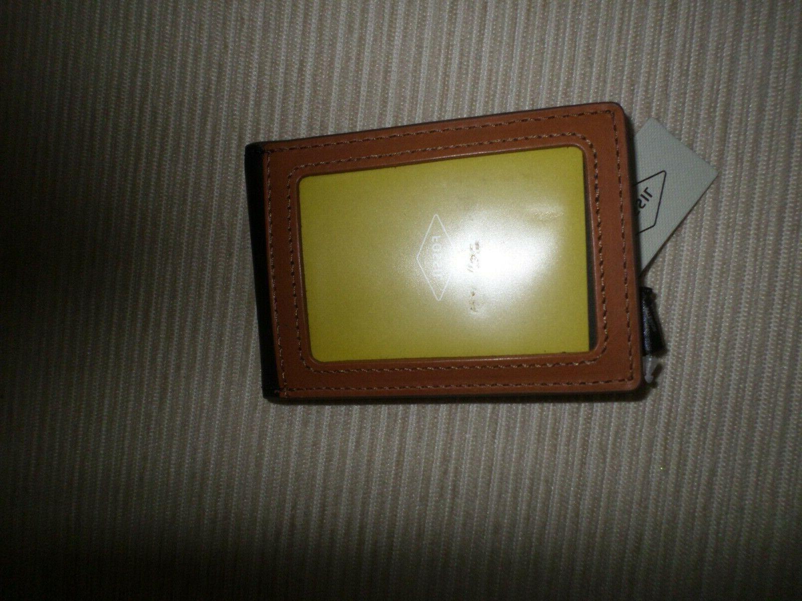 Fossil Cognac Brown Black Money Clip RFID