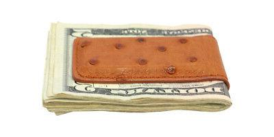 Cognac Quill Ostrich Skin Money Clip - MADE IN THE