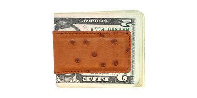 Cognac Small Ostrich Magnetic Money Clip - IN THE
