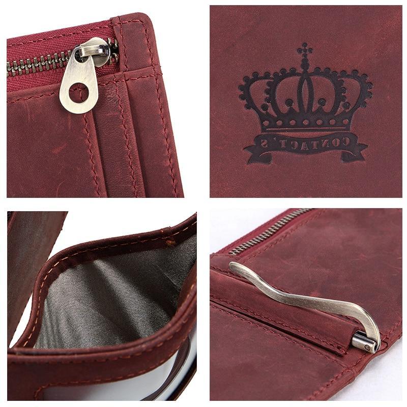 Contact'<font><b>s</b></font> Brand Horse Leather Purse Slim <font><b>Money</b></font> Female