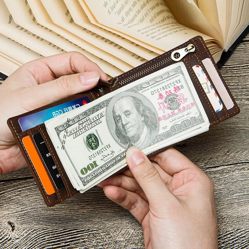 CONTACT'<font><b>S</b></font> Crazy Horse RFID Leather <font><b>Clip</b></font> Wallet Bifold cash clamp cash holder coin purse