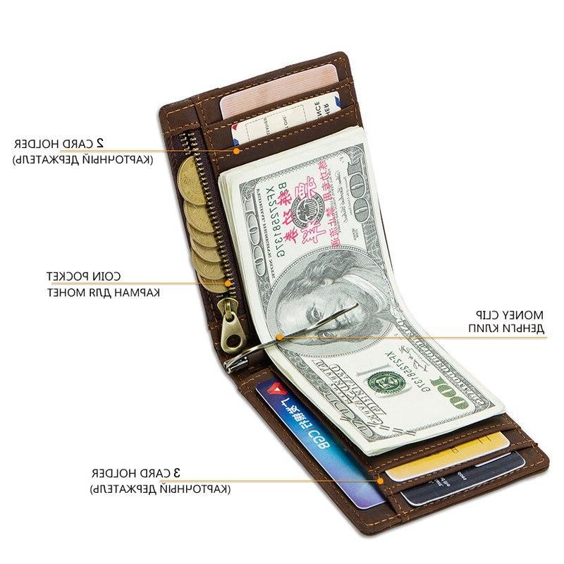 CONTACT'<font><b>S</b></font> RFID Leather <font><b>Clip</b></font> Card Bifold cash clamp casual cash man coin purse
