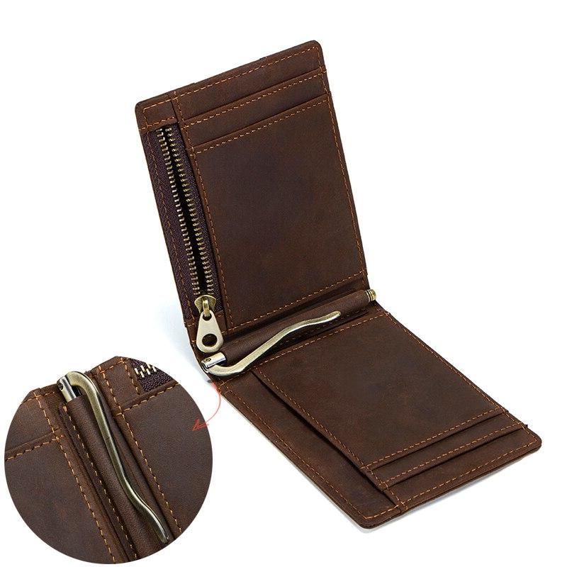CONTACT'<font><b>S</b></font> Crazy Horse RFID Leather <font><b>Clip</b></font> Thin Bifold cash purse