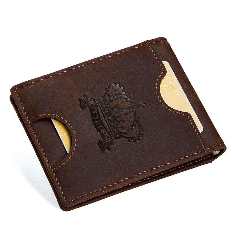 CONTACT'<font><b>S</b></font> Crazy <font><b>men</b></font> RFID Genuine Leather <font><b>Clip</b></font> Wallet Bifold cash purse