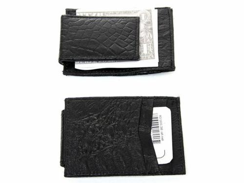 Crocodile Embossed Leather Magnetic Money Clip
