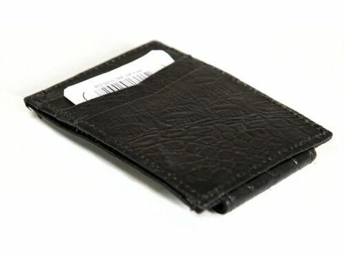 Crocodile Embossed Leather Magnetic Clip 3 Credit Card Holder