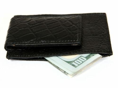 Crocodile Leather Magnetic Money Clip Credit