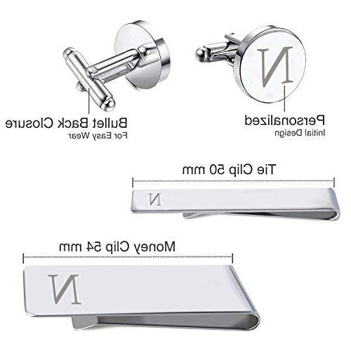 BodyJ4You 4PC Cufflinks Tie Bar Shirt Initials Letter N