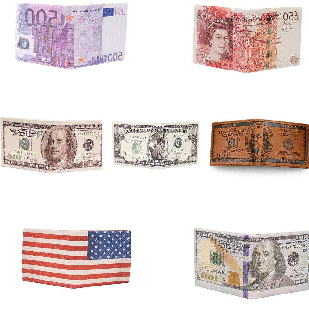 dollar pound euro bifold leather card case