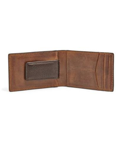 Fossil Brown Leather Clip 3 Card Wallet