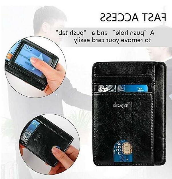 FRONT WALLET LEATHER RFID Blocking ID Card Holder Women's Gift