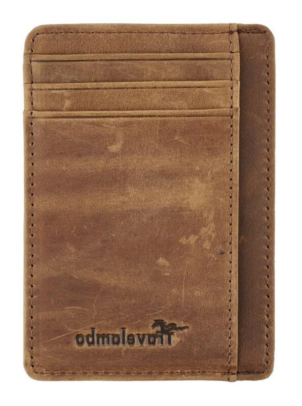 Travelambo Minimalist Leather Slim Money Clip