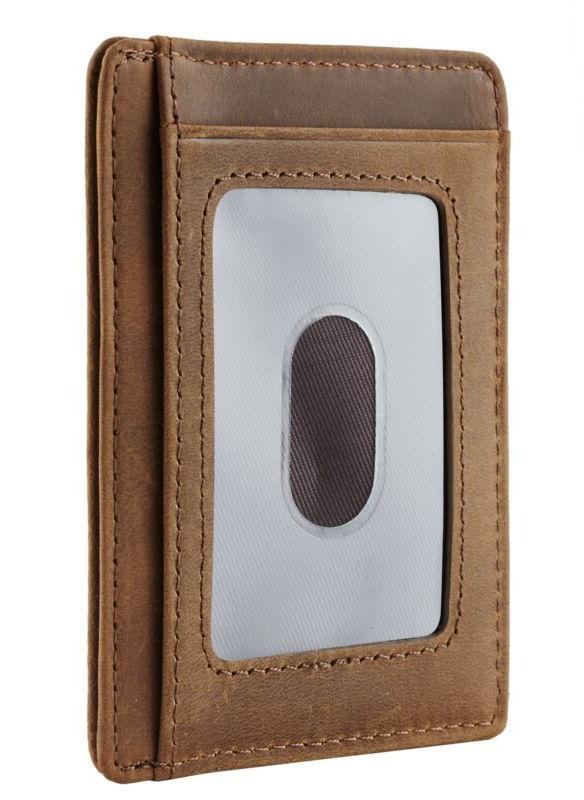 Travelambo Pocket Wallet Minimalist Leather Clip