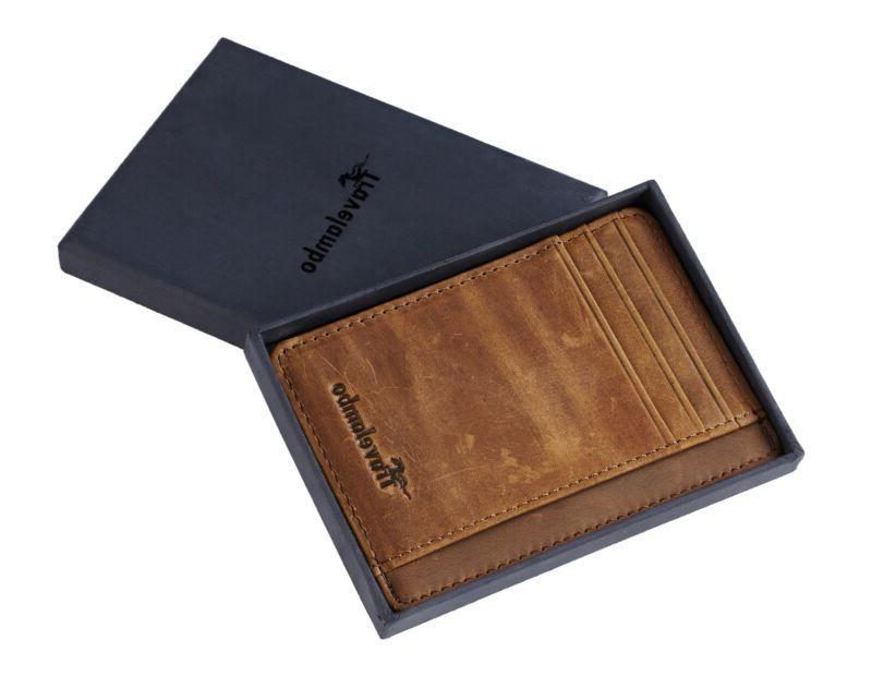 Travelambo Front Minimalist Leather Slim Clip