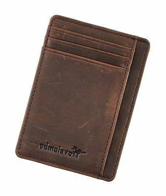 Travelambo Front Minimalist Wallets Leather Wallet