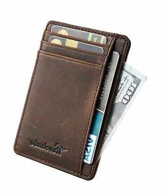 Travelambo Pocket Minimalist Leather Slim Wallet Money