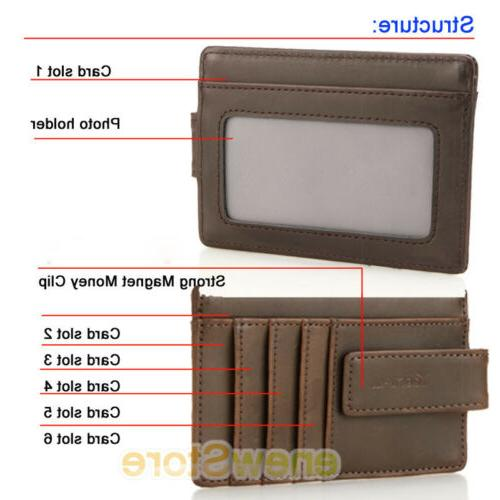 Clip Leather RFID ID Card Holder