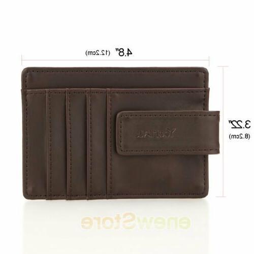 Front Pocket Wallet Clip Leather RFID Blocking ID Holder