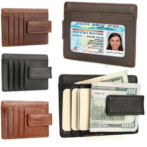 front pocket wallet money clip leather rfid