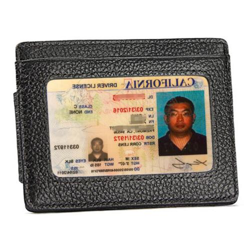 Front Wallet Money Clip Leather ID Card Slim Holder