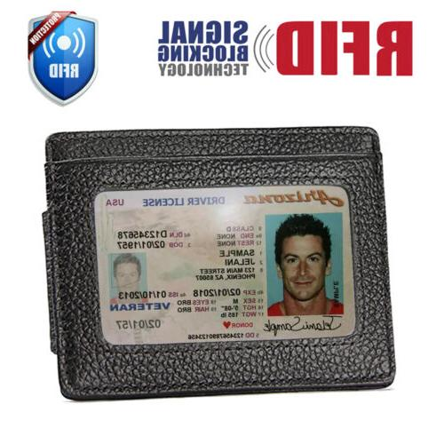 front pocket wallet money clip leather rfid