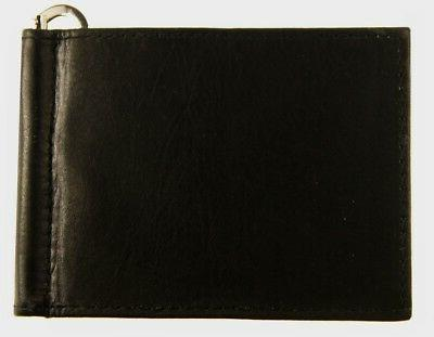 MENS Leather Bifold Minimalist With Money Clip Outside ID