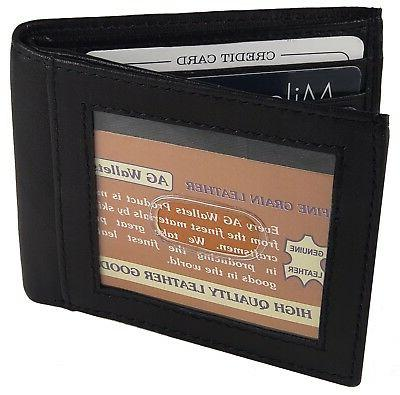 MENS Leather Bifold Minimalist Money Clip Outside