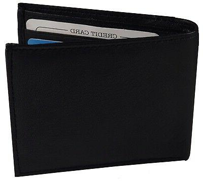 MENS Black Bifold Minimalist Wallet Money Clip Outside