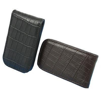 genuine leather croc pattern embossed magnetic money