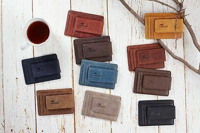 Toughergun Genuine Leather Front Pocket Clip Wallet RFID