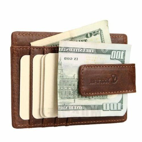Genuine leather Clip ID Credit Case Holder Slim