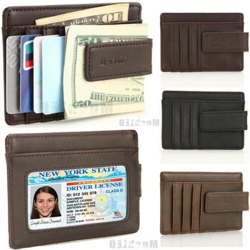 genuine leather money clip id credit card