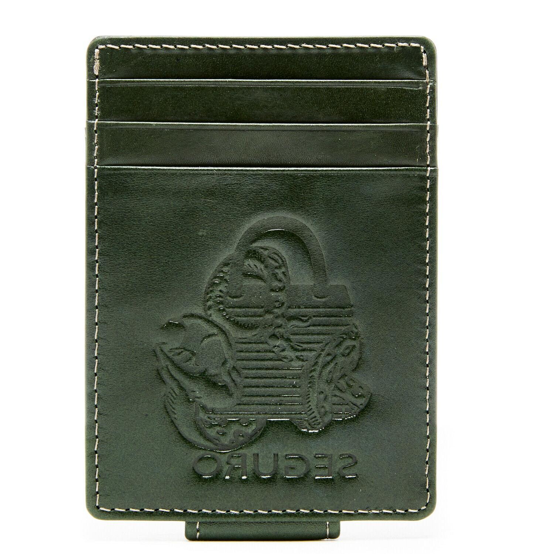 genuine leather money clip slim cardholder
