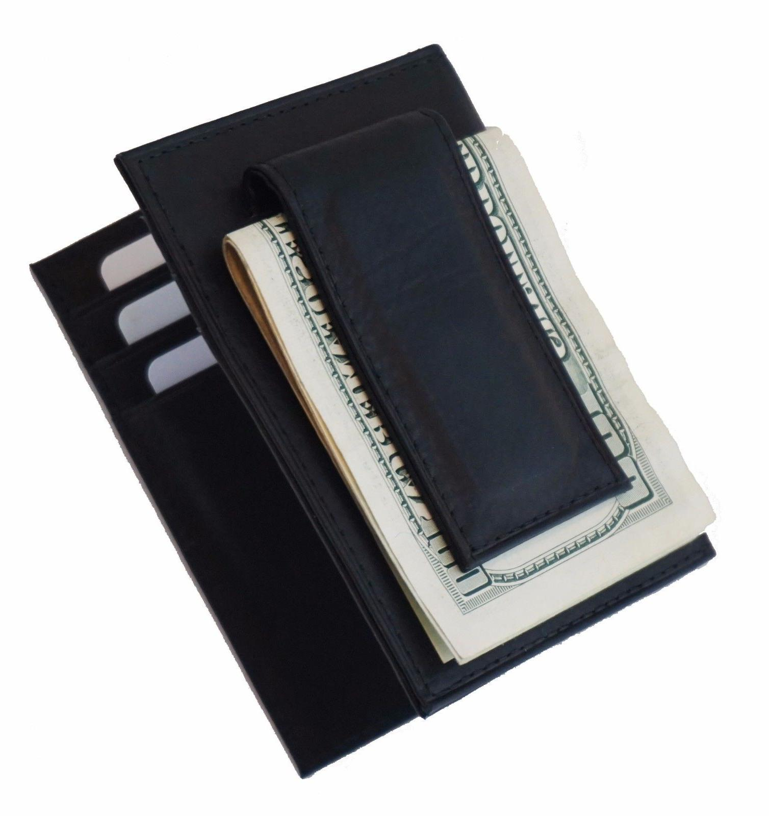 Mens Genuine Leather Money Clip Slim Wallet Black ID Credit Holder