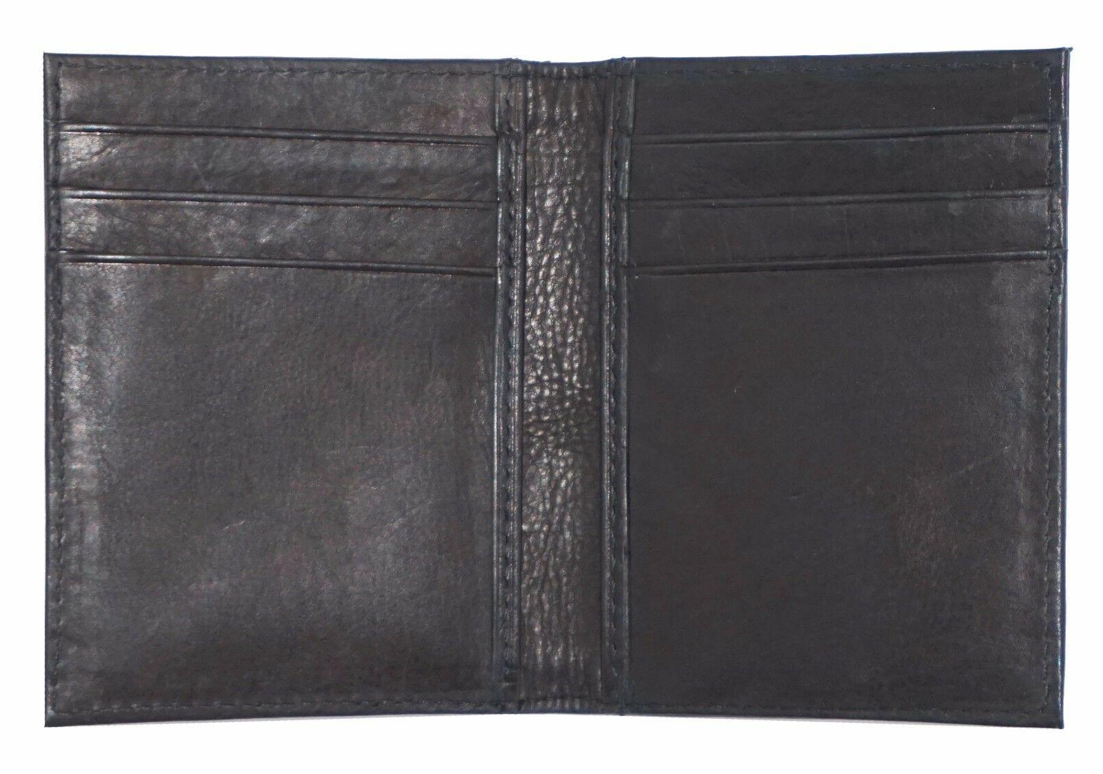 Mens Genuine Leather Money Clip Wallet Black Credit Holder