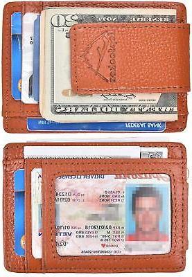 Hopsooken Genuine Leather Money Clip Wallet RFID Thin Slim W
