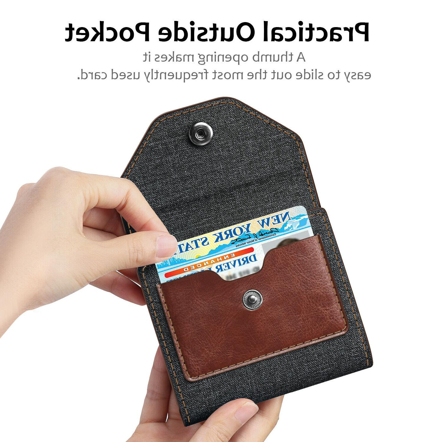 Genuine Leather RFID Blocking Credit Card Wallet Case