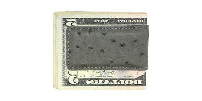 Grey Genuine Ostrich Skin Magnetic Money Clip - MADE IN THE