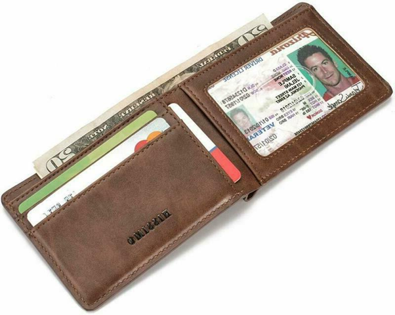 HISSIMO Mens Slim Front Pocket Wallet ID Card RFID Blocking