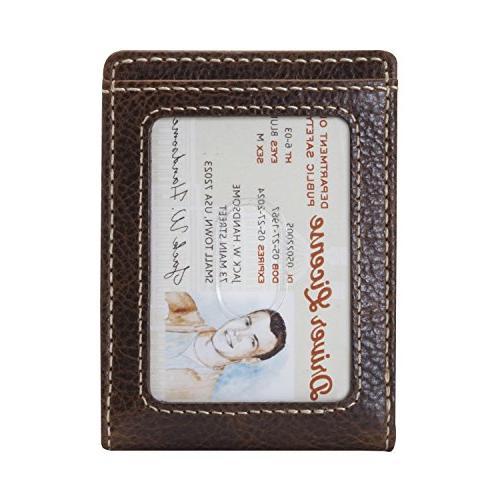 HOJ Co IVAR ID BIFOLD Money Clip Wallet-Full Grain Leather-Magnetic Front brown