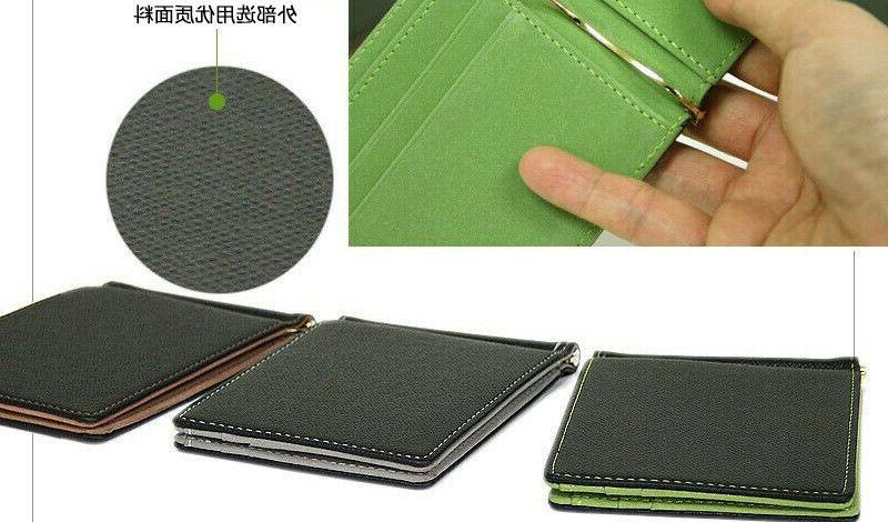 Hot Men Leather ID Credit Card with Money Clip