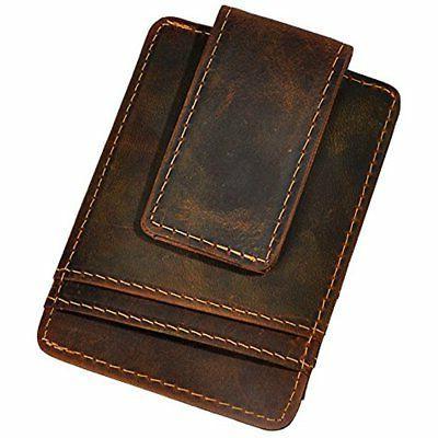 Le'aokuu Genuine Leather Magnet Money Clip Credit Card Case