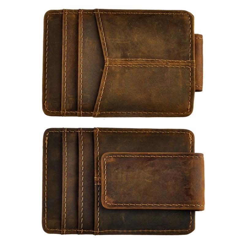 Le'aokuu Mens Genuine Leather Cowhide Money Clip Credit Card
