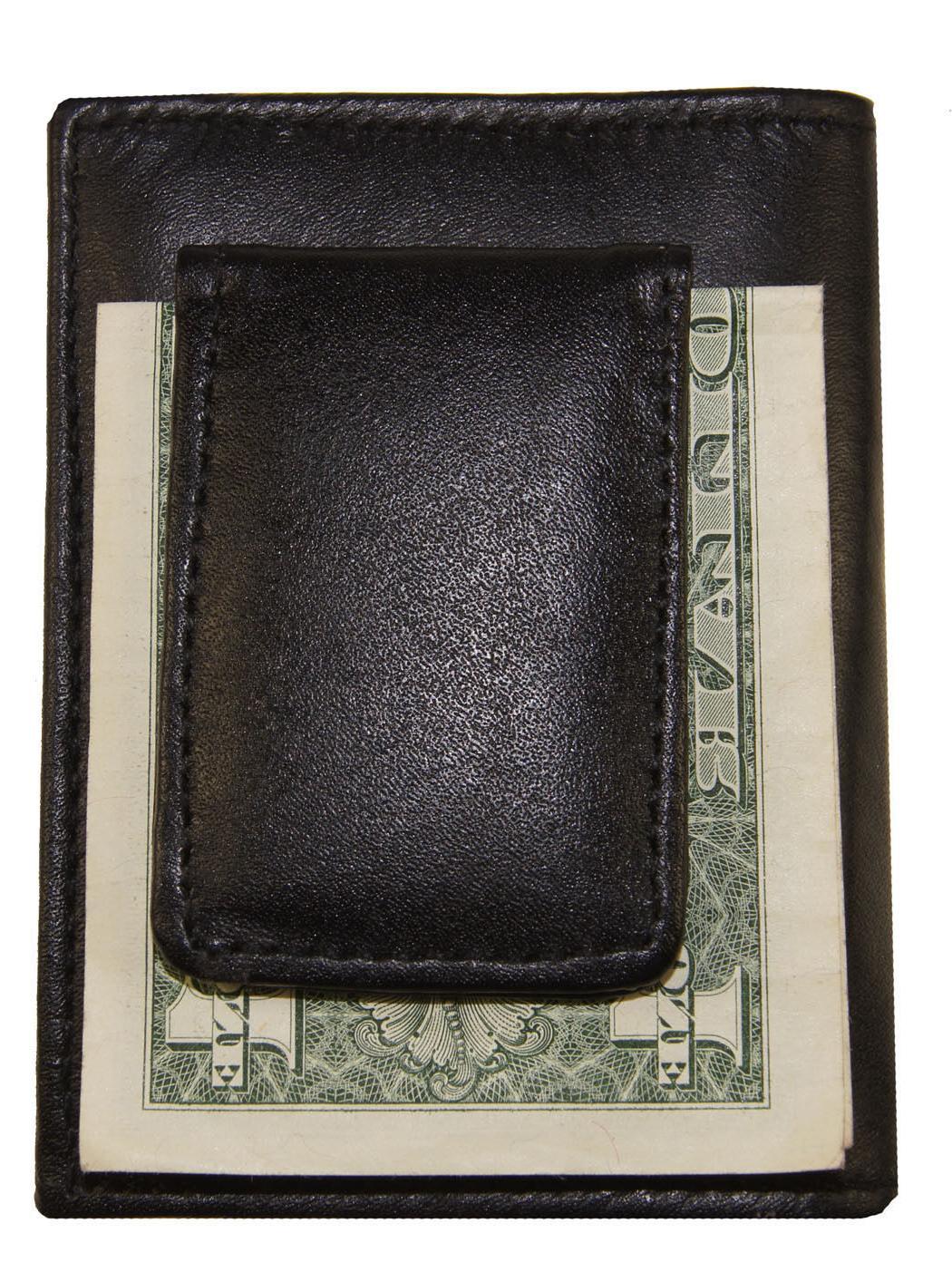 Leather Clip Id Holder Black Wallet