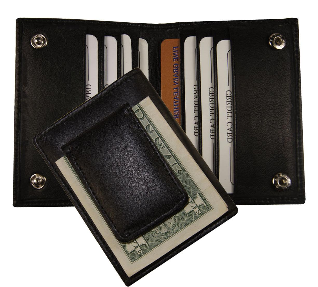 Leather Clip Slim Id Holder Wallet