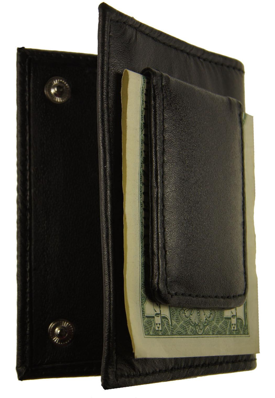 Leather Bifold Clip Slim Id Black Wallet