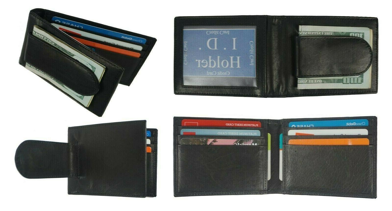 Leather Bifold Slim ID Card Holder Front Pocket Black Men's
