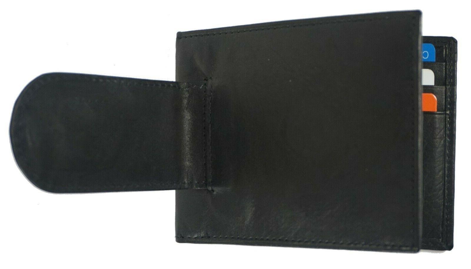 Leather Bifold Slim Card Black Clip Wallet