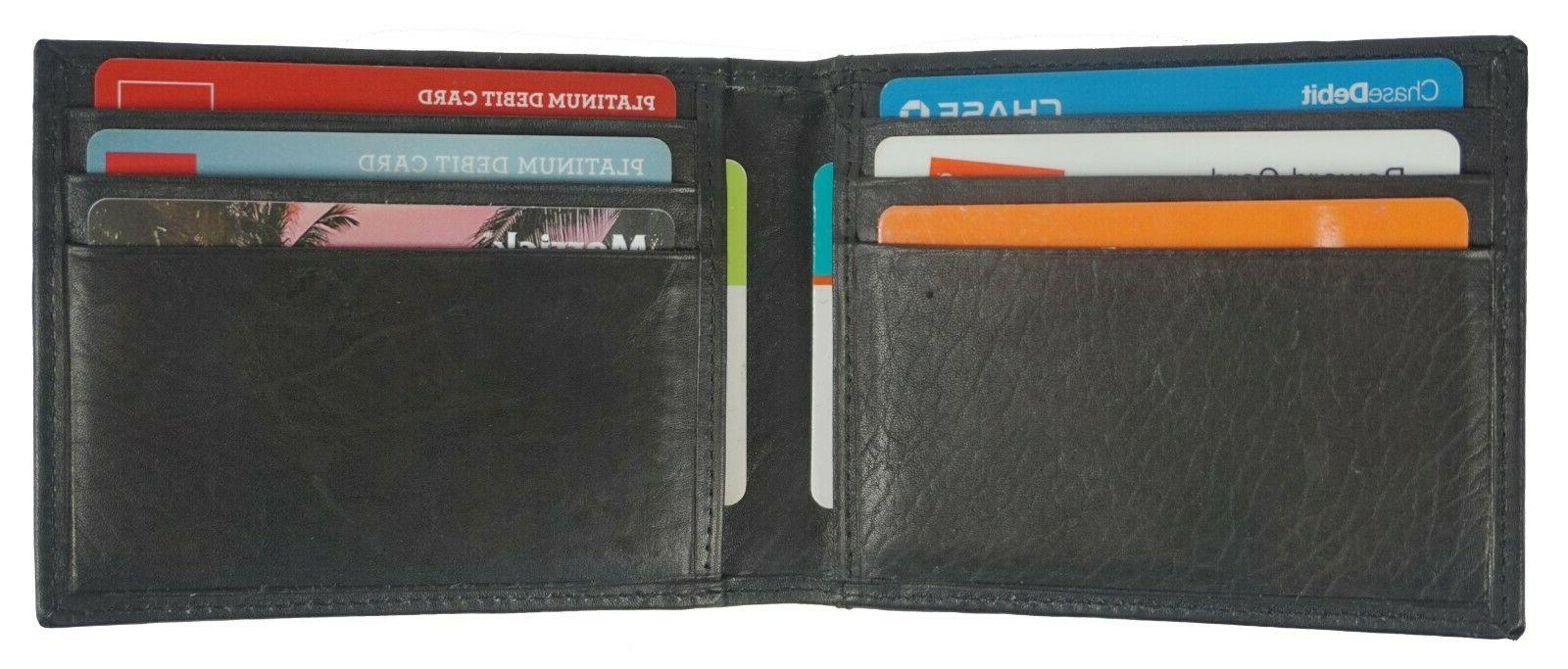 Leather Bifold Slim Card Holder Front Pocket Black Men's Mon